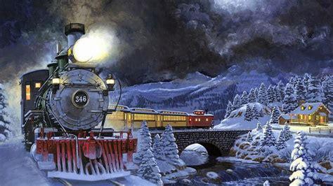 desktop wallpaper xmas trains winter moving light snow trees bridge cozy house 2560x1440 wallpapers13