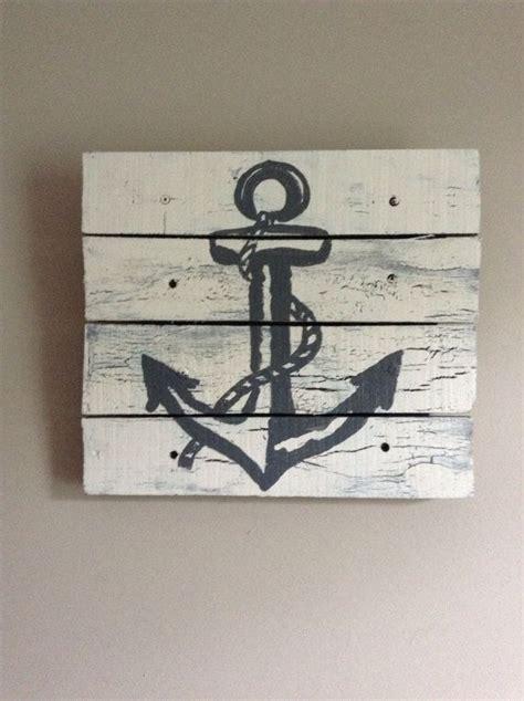 rustic nautical home decor anchor art pallet art 14x14 rustic art beach house white