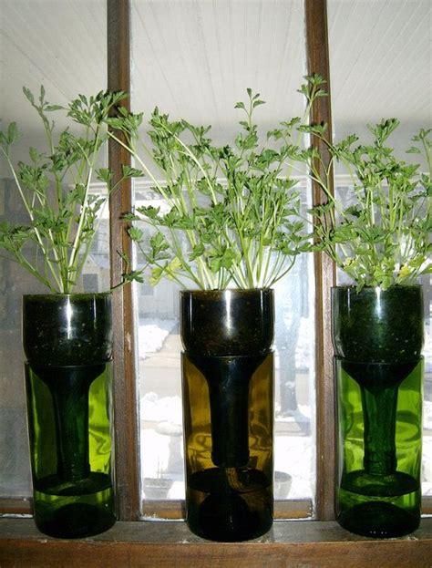 Wine Bottle Self Watering Planter by Self Watering Wine Bottle Planter