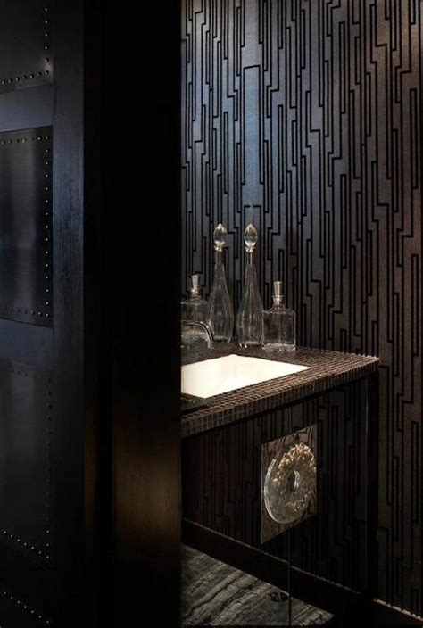 Black And Silver Bathroom by Silver Leaf Wallpaper Bathroom Kohler