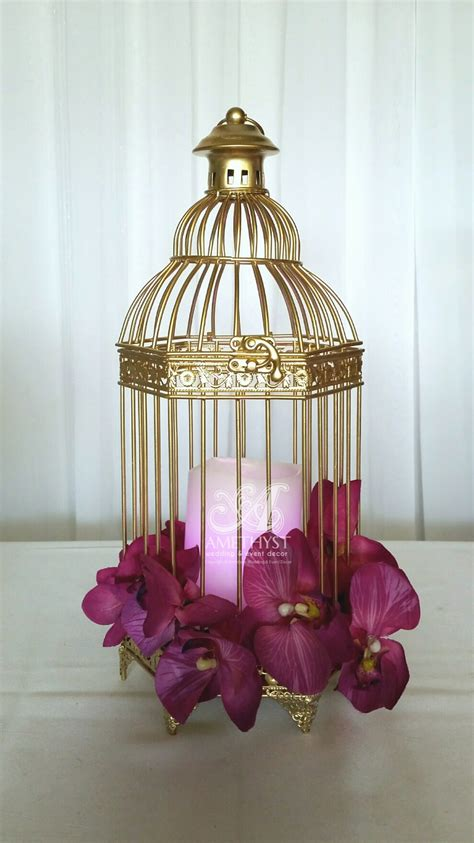 small gold birdcage centerpiece click for more info