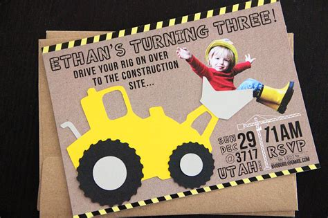 construction themed birthday invitations big rig construction birthday party project nursery