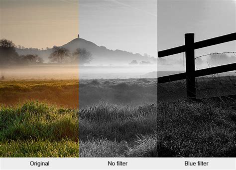 using coloured filters in black and white photography