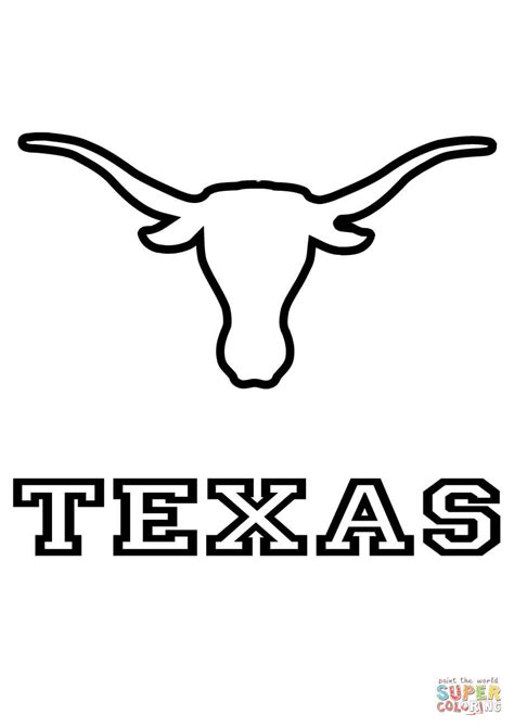longhorn colors longhorns team coloring page free printable