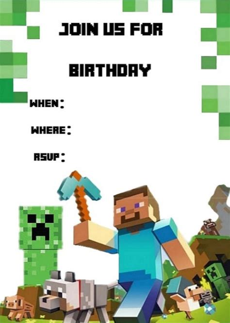 minecraft birthday card template minecraft birthday invitation template invitations