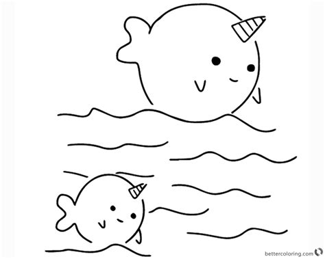 Coloring Page Narwhal by Two Narwhals Coloring Pages Free Printable Coloring