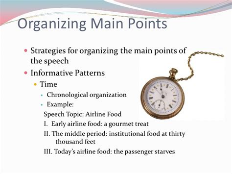 what is the main pattern of organization for the first paragraph organizational patterns for speeches