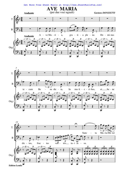 free printable sheet music ave maria free sheet music for ave maria donizetti gaetano by
