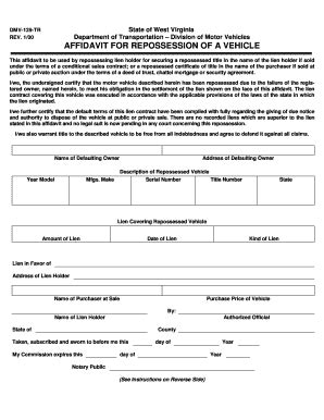 Repo Order Fill Online Printable Fillable Blank Pdffiller Repossession Order Form Template