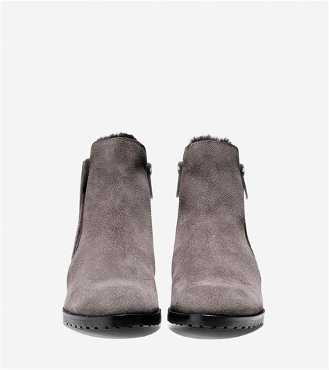 cole haan oak water resistant suede ankle boots in gray lyst