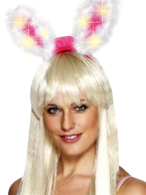 light up bunny ears marabou pink and white light up glow bunny ears 26905