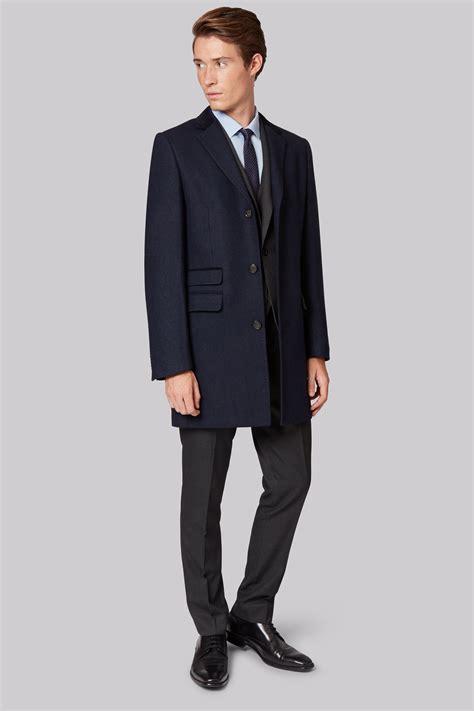 Slim Fit moss slim fit navy twill overcoat