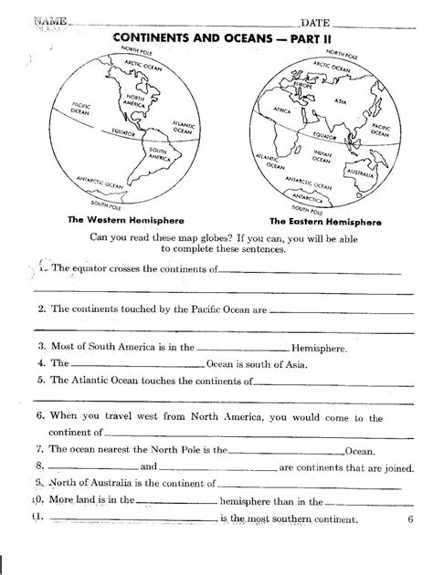 printable quiz continents and oceans printables continents and oceans quiz worksheet