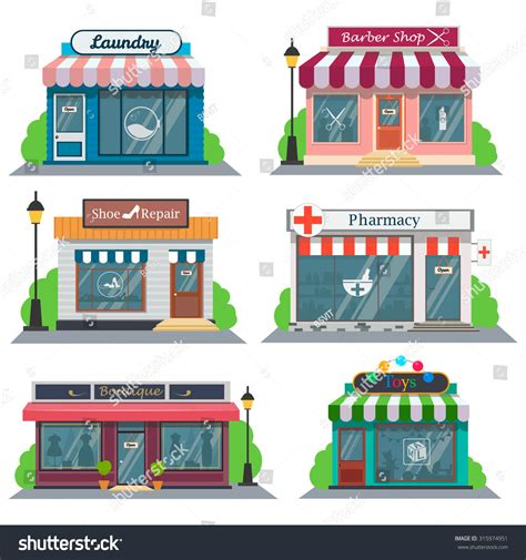 shop layout vector shops stores icons set flat design stock vector 315974951