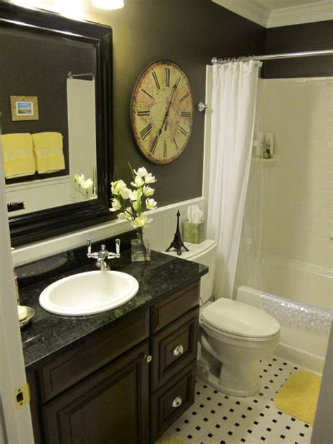 Small Full Bathroom | black and yellow bathroom quarter moon rooms pinterest
