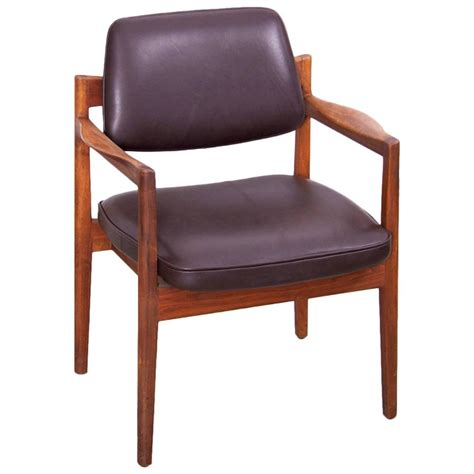 jens risom armchair in walnut and leather by jens risom