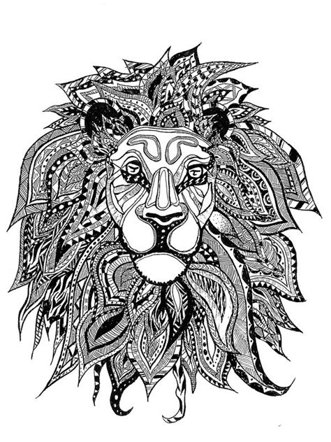 detailed lion coloring pages american hippie art coloring page zentangle lion