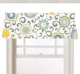 Blue And Gray Valance Window Topper Valance Mod Flowers Gray White Yellow