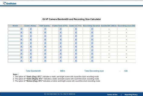 calculator bandwidth geovision bandwidth disk space calculator
