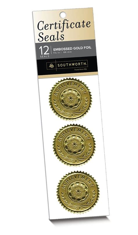 southworth business card template southworth certificate seals quot achievement quot gold 12 count s2 business card