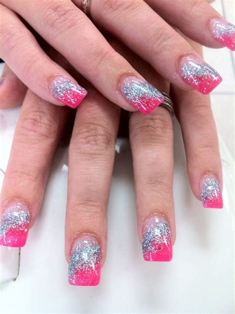 Rosa Glitzer Nägel 5007 by Nails By Yen Pink And Sky Blue Glitter Acrylic Nails