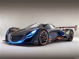 stunning black race car with blue lights