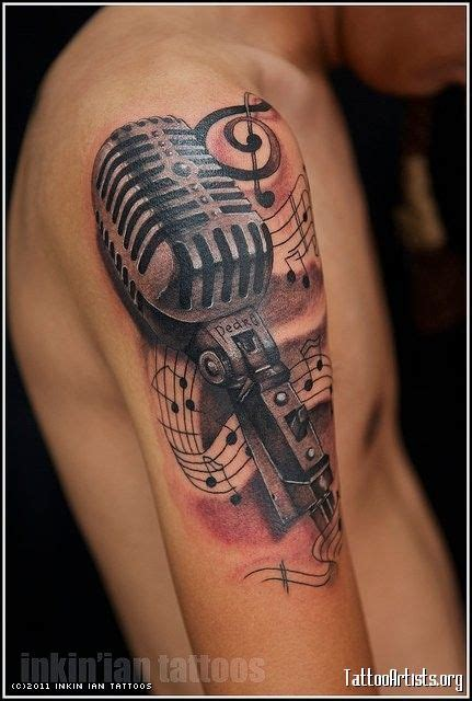 musical half sleeve tattoo designs 22 microphone and notes