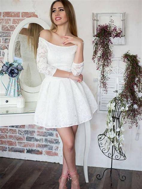 3 4 Sleeve Lace A Line Mini Dress mini a line princess the shoulder 3 4 sleeves