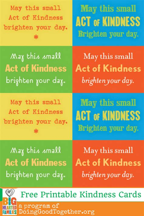 random acts of kindness cards templates 24 acts of kindness doing together
