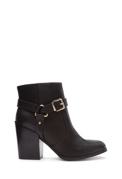 forever 21 shoes boots forever 21 buckled faux leather boots in black lyst