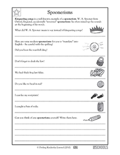 5th grade writing worksheets: silly spoonerisms