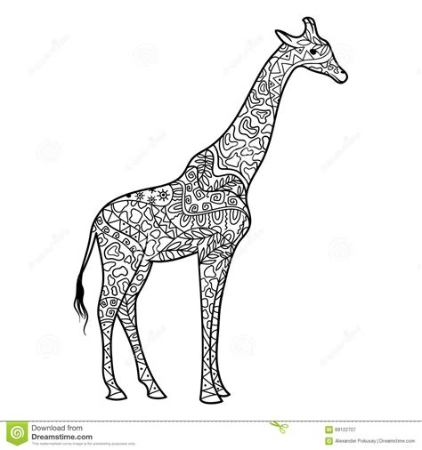 giraffe mandala coloring pages giraffe coloring book for adults vector stock vector