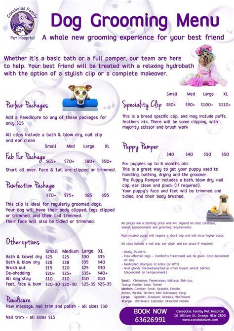 grooming price list grooming price list