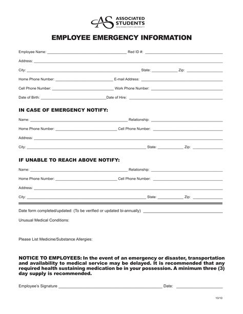 Notification Template by 9 Employee Emergency Notification Forms Templates Pdf