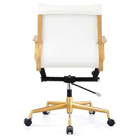 white and gold desk chair malone gold white modern office chair eurway