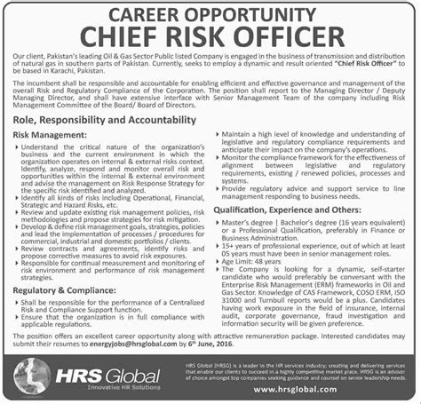 Chief Risk Officer by Chief Risk Officer In Hrs Global Hrsg Pakistan