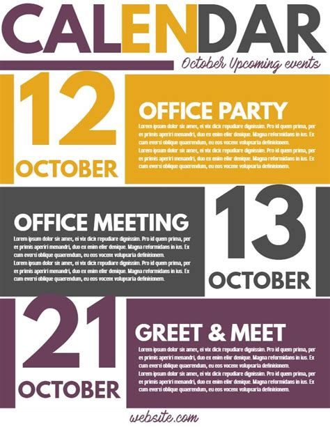 Calendar Of Events Flyer Template