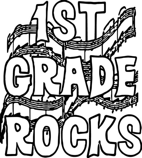 Coloring Pages 1st Grade by 1st Grade School Rocks Coloring Page Wecoloringpage