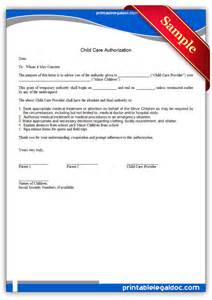 Authorization Letter For Child Medical Care Free Printable Child Care Authorization Form Generic