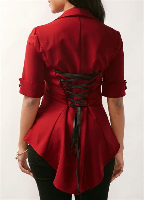 Black Ring Asymmetric Blouse S M L 20006 wine asymmetric hem lace up back blouse rosewe usd 35 06