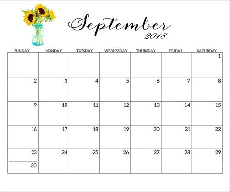 september 2018 calendar word excel pdf page document free june