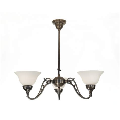 Period Pendant Lighting Traditional Aged Brass Ceiling Light With 3 Upward Facing Lights