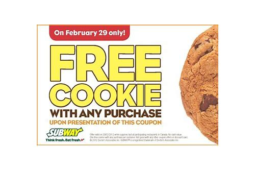 subway coupon code free cookie