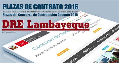 contrato colectivo de educacion 2016 dre lambayeque plazas vacantes contrato docente 2016