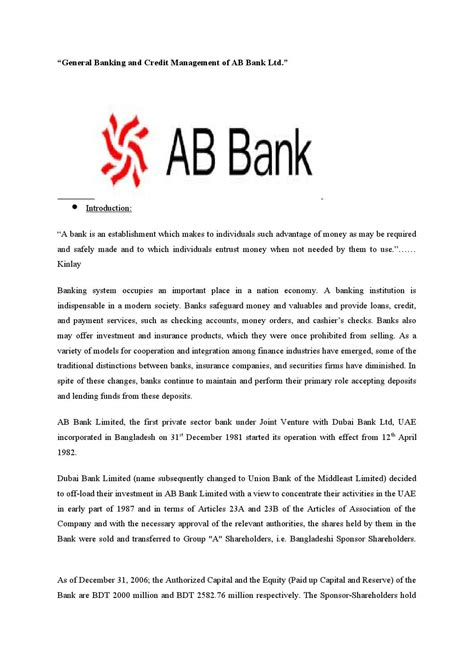 ab bank general banking and credit management of ab bank ltd by