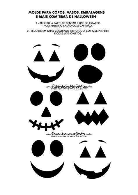 Moldes para Halloween Molde Rostos para Copo Potes