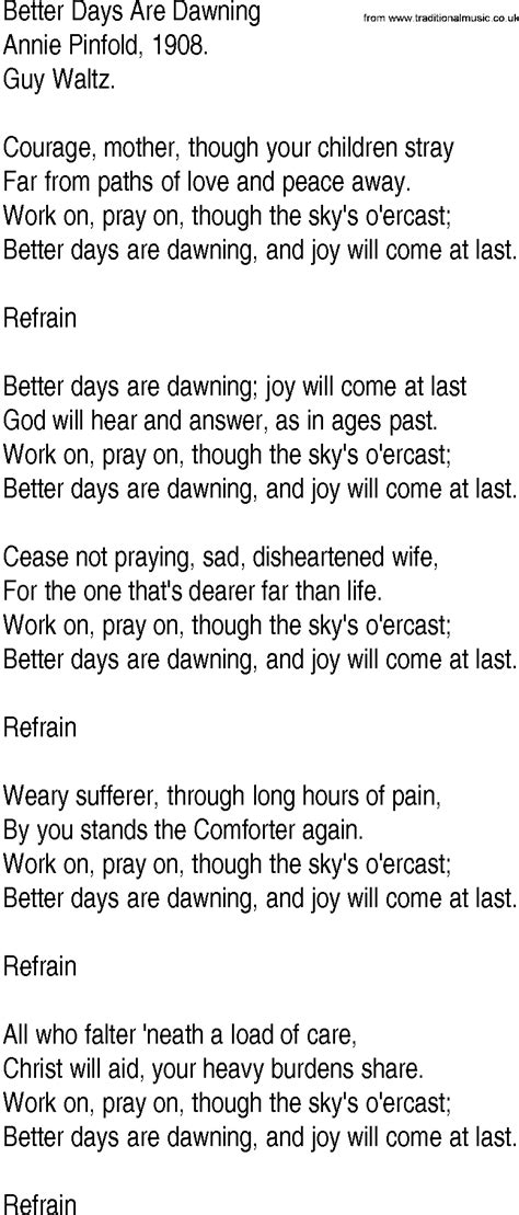 Hymn and Gospel Song Lyrics for Better Days Are Dawning by
