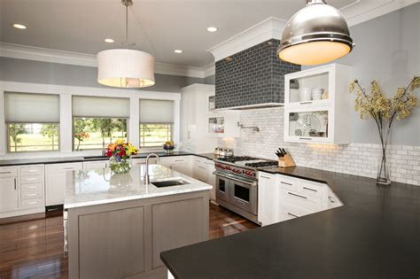 Brick Kitchen Backsplash by Modern Farmhouse Kitchen Modern Kitchen Dallas By