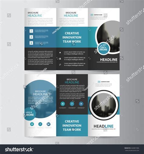 circle brochure template blue circle business trifold three fold stock vector