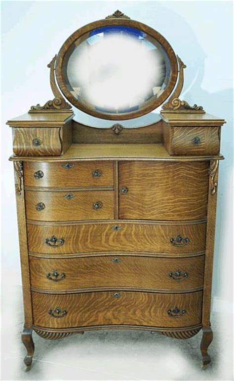 oak bedroom dresser with mirror oak serpentine hichest with hat box and glove boxes